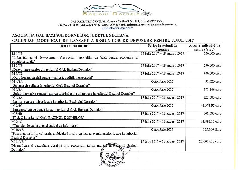 Calendar lansare sesiuni - 2017 - modificat